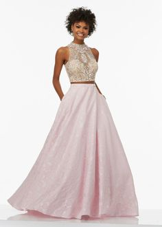 Hot Trendy Two Piece Beaded Illusion Net Top Keyhole Back Pink Prom Dress