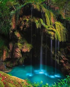 Turquoise waterfall from Urederra River in Navarra, Spain