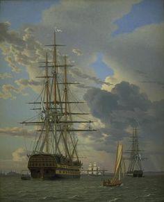"Christoffer Wilhelm Eckersberg (1783-1853), ""Det russiske linieskib ""Assow"" og en fregat til ankers på Helsingør red"", 1828.  Statens Museum for Kunst / National Gallery of Denmark. http://www.smk.dk/index.php?id=1173"