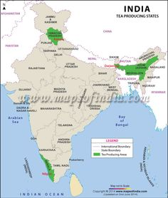 Map of Tea Production State in India