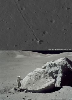 Tracy's Rock - the split boulder that brought a significant sample of the Sculptured Hills-type mountains, in this case the North Massif down to the Taurus Littrow valley floor, where geologist astronaut Jack Schmitt and Apollo 17 commander Capt. Gene Cernan could sample it during the last walk on the Moon, December 13, 1972.