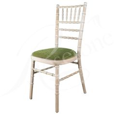 Limewash Chiavari Wedding Chair with Sage Green Seat Pad