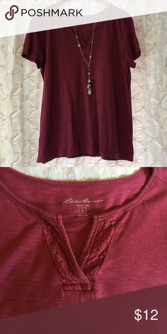 Eddie Bauer raspberry tee- large You're looking at a gently used Eddie Bauer tee in a pretty burgundy/ raspberry color. 100% cotton and super comfy. The scoop neck has a slit with crochet accent. Great everyday tee. ❤️offers ❤️bundles for discounts 🚫PayPal 🚫trades Eddie Bauer Tops Tees - Short Sleeve
