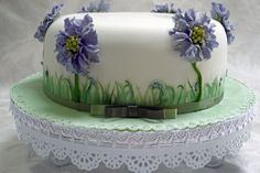 Blue Scabious Hand painted cake