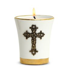 Square Frosted Glass Container Soy Wax Candle with Antique Gold or Antique Silver Metal Cross 18 Oz