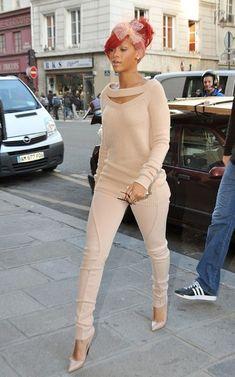 rihanna beige outfit