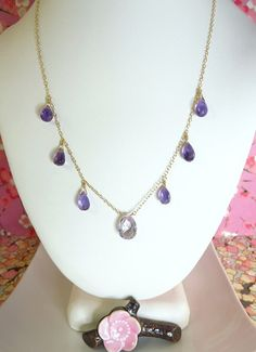 Pink amethyst and purple amethyst gold drop necklace by KBlossoms