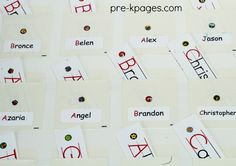 How to make an easy and inexpensive name chart for your writing center in preschool, pre-k, or kindergarten classroom.
