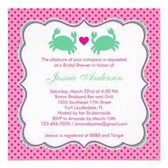 Nautical Bridal Shower Pink/Green Invitation