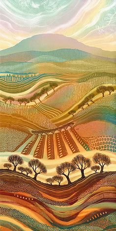 """""""Autumn Splendour."""" Colourful, detailed patchwork landscapes by Northumberland artist Rebecca Vincent. Original monotypes sold, limited edition art prints available."""