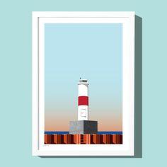 Petoskey Lighthouse art print, by Roo Kee Roo.