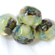 Lampwork borosilicate glass beads set Forest lake etsy.com/shop/Juliyamrboro