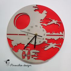 Modern wooden wall clock - Pinocchio design- Star Wars design clock  Star Wars clock new design with 2 layers of wood, there are options to choose any solid colors or wood vernich.  Exclusive wall clocks made of birch plywood. Wall art decor for playroom, nursery, childrens room, bedroom, living room, kitchen, office, hall  The wooden clock is a unique gift for Wild Nature lovers :) - for yourself or your boyfriend or girlfriend, dad or mom, wife or husband.  this can be a unique gift for a…
