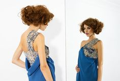 Boüret Collection - Blue draped dress with shiny sequins