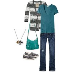 Stripes, teal, jeans, and flats...this just screams me