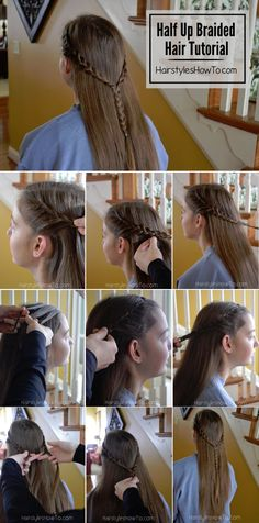 Half Up Braided Hairstyle Tutorial #braided #hair #tutorial #howto #hairstyle #hairspo