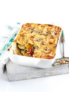 This vegetarian lasagne recipe uses summer vegetables, including courgettes and roasted red peppers, for a tasty meat-free pasta bake. Veg Lasagne, Vegetarian Lasagne, Lasagne Recipes, Vegetarian Recipes, Cooking Recipes, Lasagna, Savoury Recipes, Vegetable Recipes, Veggie Dishes