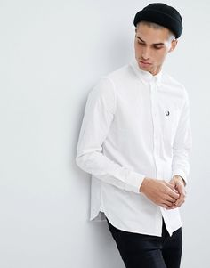 FRED PERRY CLASSIC OXFORD SHIRT IN WHITE - WHITE. #fredperry #cloth #