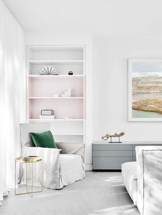 South Yarra House 1 Fiona Lynch Interior Design Office Melbourne Pink Shelves Bookshelves