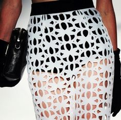 Laser Cut Fashion - black & white skirt with repeating pattern - lasercut trend; cool fashion details