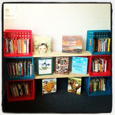 I made my classroom bookshelves out of milk crates and 2x8's. #Pin By:Pinterest++ for iPad#