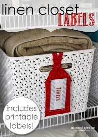 The Homes I Have Made: Linen Closet Labels (with free printable labels! Linen Closet Organization, Budget Organization, Medicine Organization, Printable Labels, Free Printables, Labels Free, Printable Recipe, Closet Labels, Basket Labels