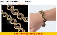 """Fun circles finished in antique copper sparkle with Swarovski topaz crystals, the color of delectable """"Iced Coffee"""".  Its mystic-glam look makes a bold fashion statement. Designed especially for the woman who loves the unusual.    7.5"""" Bracelet.  Nickel and lead free."""