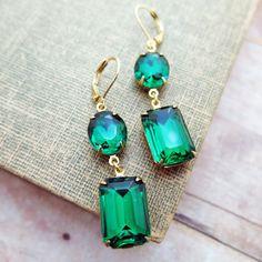 Emerald Earrings Vintage Earrings Angelina Jolie by CRystalCRush