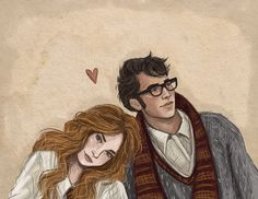 Jily/ Lily and James Potter from the Harry Potter series. Lily and James Harry Potter Couples, Harry Potter Ships, Harry Potter Tattoos, Harry Potter Books, Harry Potter Fan Art, Harry Potter Universal, Harry Potter Memes, Lily Evans, Lily Potter