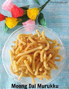 Easy Moong Dhal Murukku / Pasiparuppu Murukku / Moong dal chakli is a cripsy snack made during diwali & krishna jayanthi. Serve them with hot tea or coffee. Indian Snacks, Indian Food Recipes, Vegetarian Recipes, Snack Recipes, Cooking Recipes, Drink Recipes, Yummy Recipes, Dry Snacks, Savory Snacks