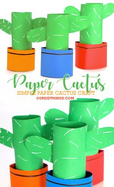 cactus craft Made with only a few supplies, this super Easy Paper Cactus Craft doesnt require sunlight or water or care of any kind and it always stays green. Fun Crafts For Kids, Summer Crafts, Preschool Crafts, Plant Crafts, Nature Crafts, Paper Bag Crafts, Diy Paper, Bee Crafts, Easy Crafts