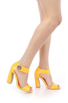 Neon Orange Single Sole Chunky Heels Patent Faux Leather