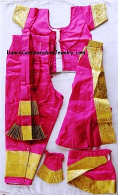 Bharatanatyam costume Pant style Readymade Pink and Gold Indian Classical Dance, Silk Material, Dance Dresses, Dance Costumes, Fashion Pants, Dress Making, Pink And Gold, Rs 5, Two Piece Skirt Set