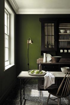 love these dark green paint colours by Little Greene - part of their latest new collection including sage greens, dark greens, pale green and aquas. Click through to see more green paint colour ideas you'll love Olive Green Paints, Sage Green Paint, Green Paint Colors, Room Colors, Dark Colors, Olive Green Walls, Green Wall Color, Color Walls, Dark Green Walls
