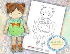 Matilda - paper doll 2 - digital collage sheet  - Printable Download