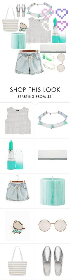 """minty fresh"" by blackpool ❤ liked on Polyvore featuring MANGO, Pusheen, Illesteva, Denim & Co. and FitFlop"