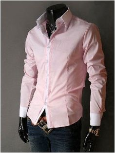 Mens Casual Slim Fitting Button Up Shirt