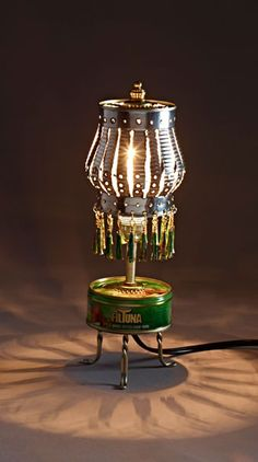 Lampshades by Kotik. Designed from processed bottle caps and tin cans.