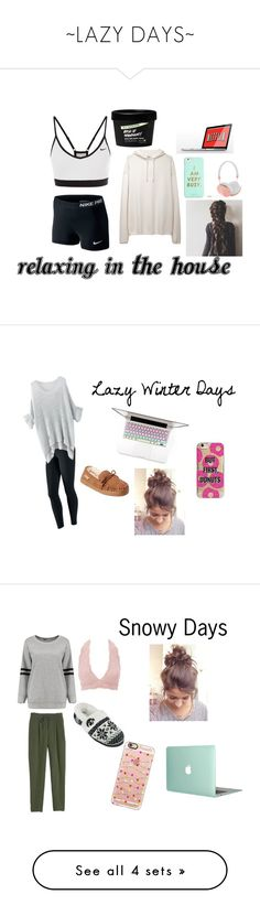 """~LAZY DAYS~"" by jessica-macfarlane ❤ liked on Polyvore featuring NIKE, Base Range, ban.do, Frends, Bearpaw, Toshiba, Agent 18, Charlotte Russe, Rebecca Taylor and Casetify"