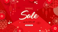 Premium Vector   Bright sales banner with chinese elements for new year. modern style, geometric decorative ornaments. Chines New Year, Chinese Element, New Year Banner, New Years Sales, Sale Banner, Illustration Art, Illustration Pictures, Spring Sale, Design Art