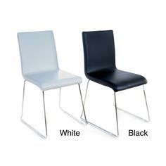This comfortable, modern and space saving chair features a soft seat and backrest upholstered in leatherette. The chromed steel wire base forms sturdy and durable skids.