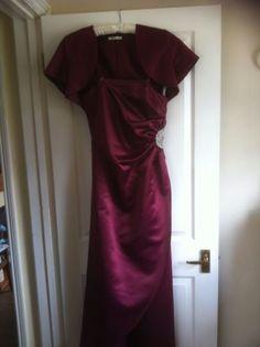 BHS Merlot Ella Bridesmaid Dress and Bolero size 14