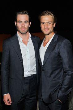 Chris Pine and Jason Morgan in Giorgio Armani at the pre-Oscar party. [Photo by Donato Sardella]