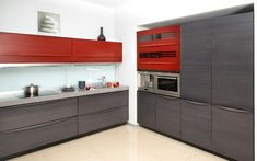 Cozinha Moderna Cinza e Vermelho