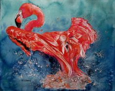 Flamingo inFlight Painting by Maia Barry