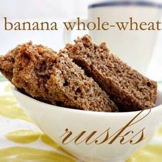 In en om die huis: Banana Whole-Wheat Rusks - Janke Coetzee - African Food Buttermilk Rusks, Rusk Recipe, Hard Bread, Whole Wheat Banana Bread, Healthy Breakfast Snacks, Biscotti Recipe, South African Recipes, Banana Bread Recipes, Cooking Recipes