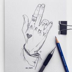 Le plus récent Instantanés bts Drawing Astuces Kpop Drawings, Cool Art Drawings, Pencil Art Drawings, Art Drawings Sketches, Sketch Art, Tattoo Drawings, Anime Sketch, Tattoo Sketches, I Tattoo