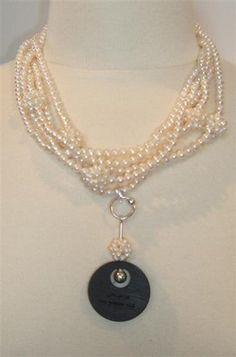 Cluster pearls and bog oak pendant...love #pearls #bog oak #jewellery
