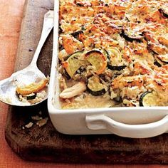 Although the yellow and green squash give this chicken and rice casserole a colorful appearance, you can use one or the other, if you prefer.