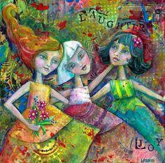 Friendship An Exuberant Colorful Mixed Media by ArtfulBitsAndBytes, $16.00